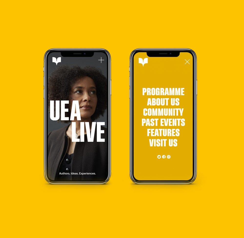 UEA Live mobile screens