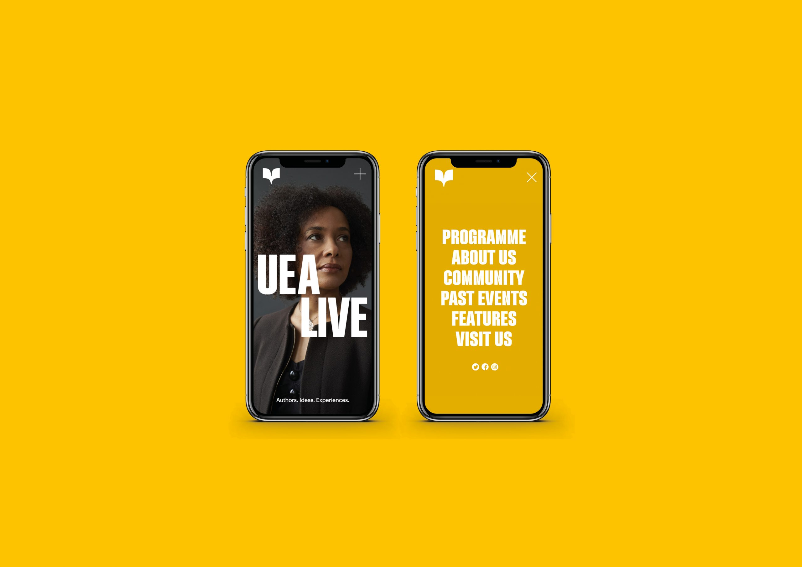 UEA Live mobile screen design