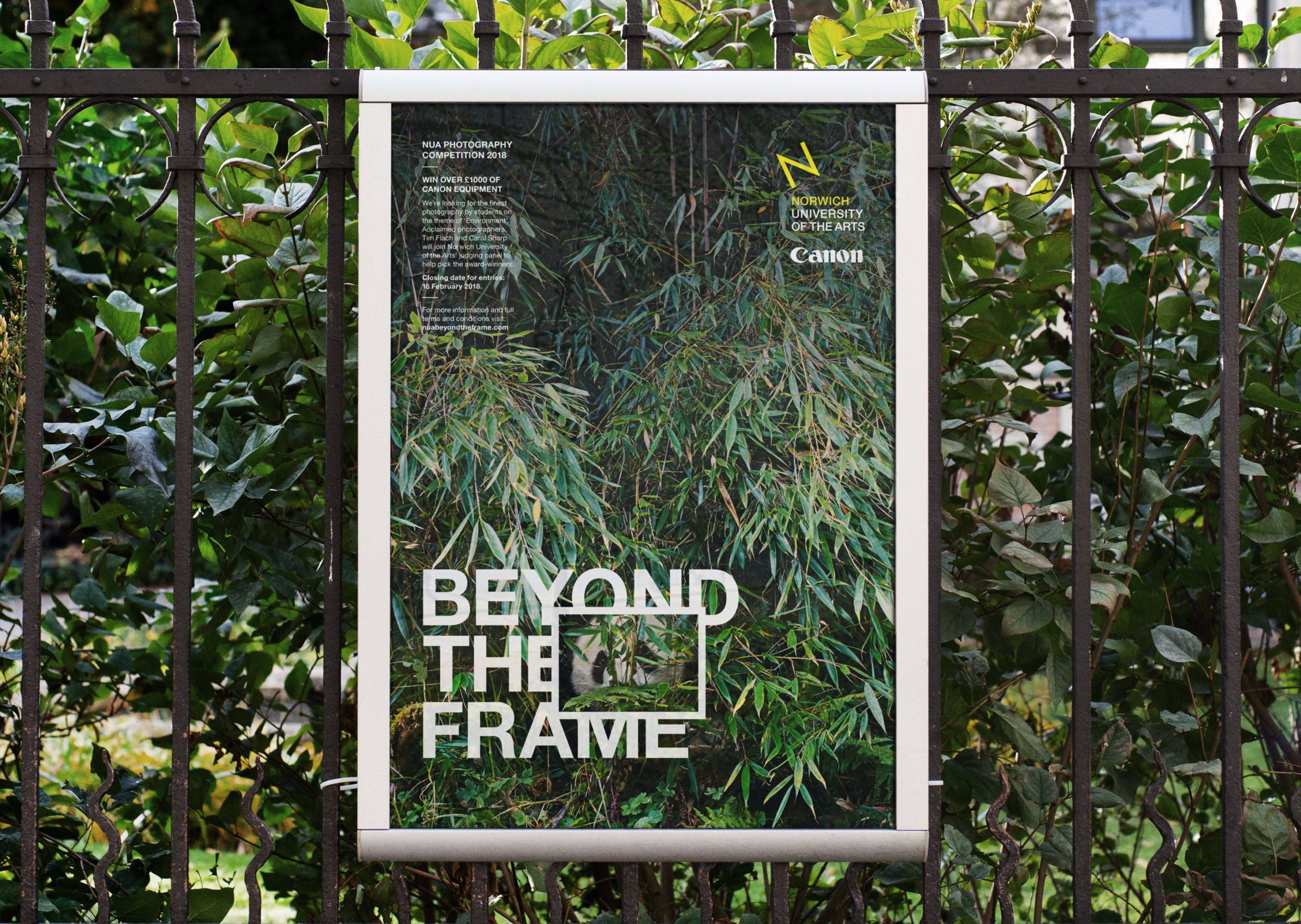 Beyond the Frame poster on fence