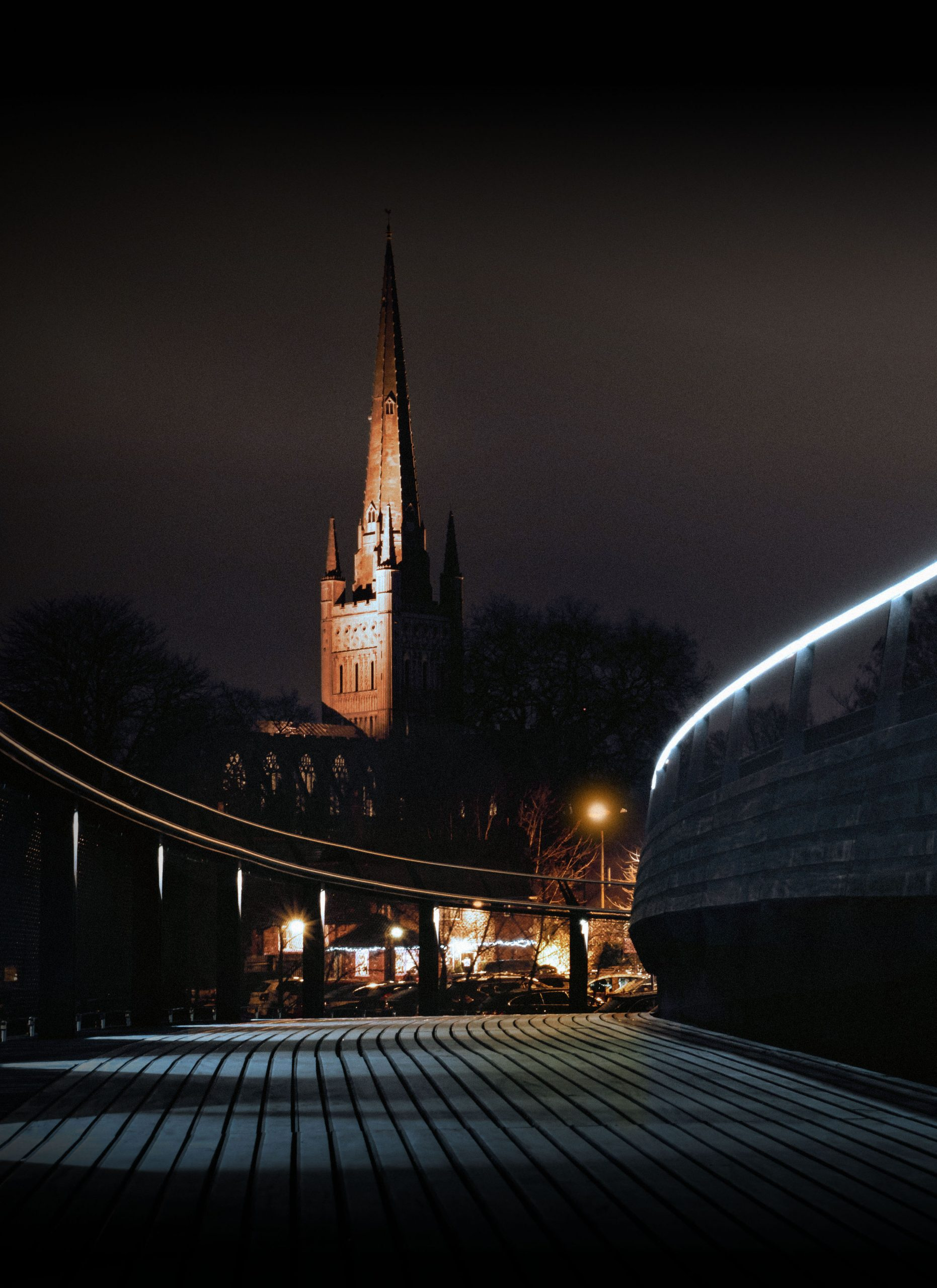 Norwich Cathedral at night