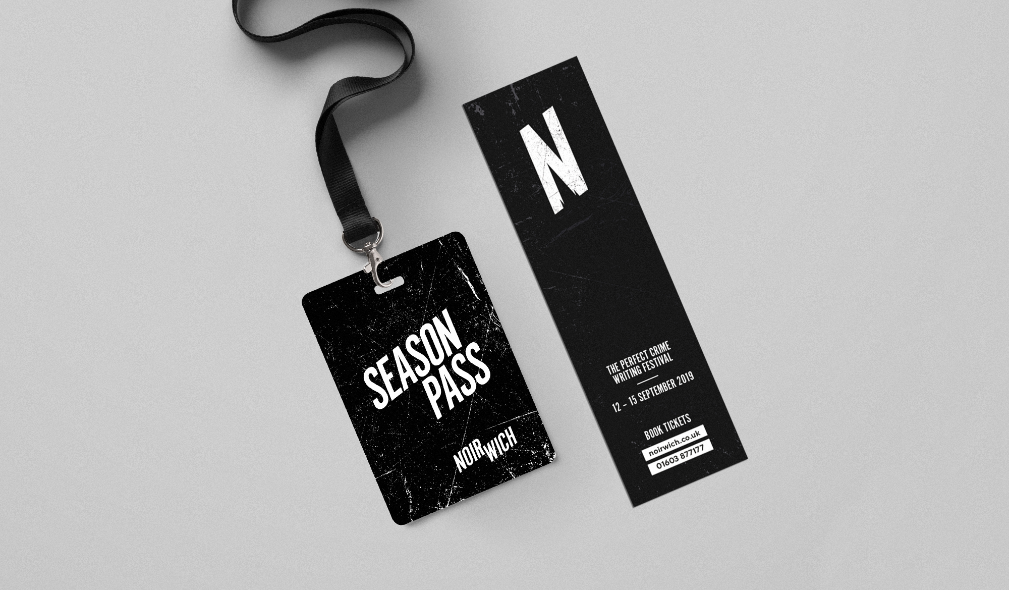 Noirwich season pass and bookmark branding